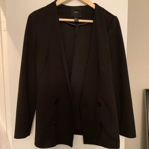 Forever21 Black Double Breasted Button Blazer